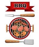 Il picnic bruciante del bbq dei carboni di vista superiore della griglia degli elementi di progettazione del barbecue che cucina  illustrazione di stock