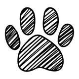 Il piede in bianco e nero monocromatico della zampa dell'animale domestico del gatto del cane ha isolato il vettore disegnato a m illustrazione vettoriale