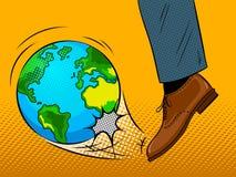 Il piede colpisce il vettore di Pop art del globo della terra Fotografia Stock
