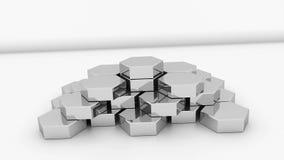 Il piedistallo del favo del metallo è su superficie, creativa per l'affare, 3d che rende il fondo illustrazione di stock
