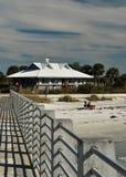 Il pilastro alla spiaggia di Desoto della fortificazione, Florida Fotografia Stock