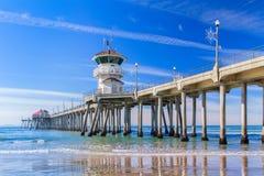 Il pilastro del Huntington Beach Fotografie Stock Libere da Diritti