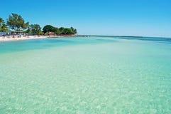 Il pilastro della spiaggia di Higgs, palme, si rilassa, mare, Key West, le chiavi, Cayo Hueso, Monroe County, l'isola, Florida Fotografia Stock
