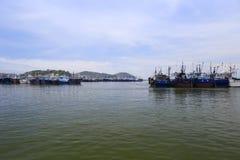 Il pilastro di pesca dell'isola di wuyu Fotografie Stock