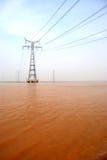 Il pilone nel fiume giallo Immagini Stock Libere da Diritti