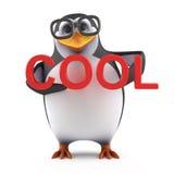 il pinguino accademico 3d è fresco Fotografia Stock Libera da Diritti