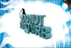 il pinguino 3d che si siede sopra non disturba il illustation del testo Fotografia Stock Libera da Diritti