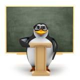 il pinguino 3d insegna alla classe illustrazione vettoriale
