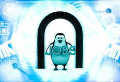 il pinguino 3d nell'ambito dei lavori della tenuta e dell'entrata manda un sms all'illustrazione disponibila Immagine Stock