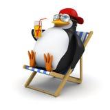 il pinguino 3d si rilassa in sedia a sdraio Fotografia Stock