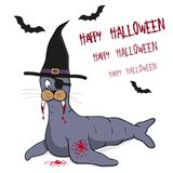 Il pirata del leone marino ha stilizzato come un vampiro con il cappello della strega e con i pipistrelli Immagini Stock