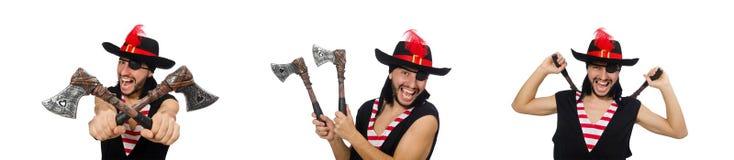Il pirata dell'uomo isolato sui precedenti bianchi immagine stock libera da diritti