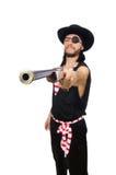 Il pirata dell'uomo isolato sui precedenti bianchi Fotografie Stock
