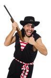 Il pirata dell'uomo isolato sui precedenti bianchi Immagini Stock