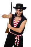 Il pirata dell'uomo isolato sui precedenti bianchi Immagine Stock