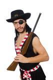 Il pirata dell'uomo sui precedenti bianchi Immagine Stock
