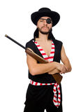 Il pirata dell'uomo sui precedenti bianchi fotografia stock