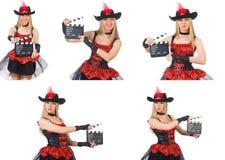 Il pirata della donna con il bordo di film Immagini Stock