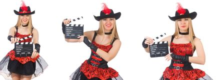 Il pirata della donna con il bordo di film Fotografie Stock