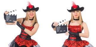Il pirata della donna con il bordo di film Immagine Stock Libera da Diritti