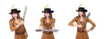 Il pirata della donna con il coltello isolato su bianco Immagine Stock Libera da Diritti