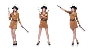 Il pirata della donna con il coltello isolato su bianco Fotografia Stock
