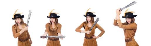Il pirata della donna con il coltello isolato su bianco Fotografia Stock Libera da Diritti