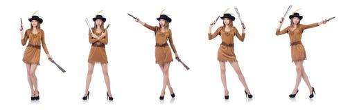 Il pirata della donna con il coltello isolato su bianco Fotografie Stock Libere da Diritti