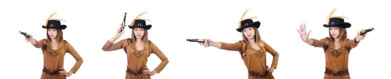 Il pirata della donna con la pistola isolata su bianco Immagine Stock