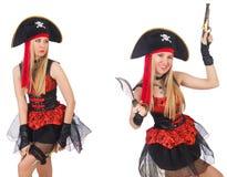 Il pirata della donna isolato sul bianco Immagine Stock Libera da Diritti