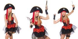Il pirata della donna isolato sul bianco Fotografie Stock Libere da Diritti