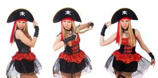 Il pirata della donna isolato sul bianco Fotografia Stock Libera da Diritti