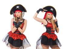 Il pirata della donna isolato sul bianco Immagini Stock Libere da Diritti