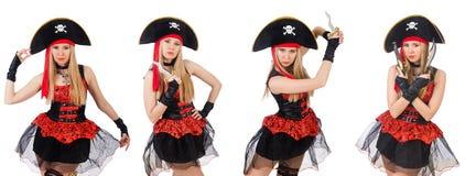 Il pirata della donna isolato sul bianco Immagini Stock