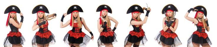 Il pirata della donna isolato sul bianco Fotografia Stock