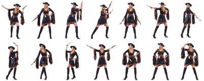 Il pirata della donna in varie pose Immagine Stock