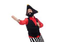 Il pirata divertente sul bianco fotografie stock