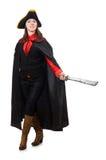 Il pirata femminile in spada nera della tenuta del cappotto Immagini Stock