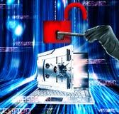 Il pirata informatico attacca la rappresentazione del computer portatile 3d Fotografie Stock