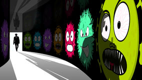 Il pirata informatico dell'elite entra nel corridoio di sicurezza dell'informazione con i virus Fotografia Stock Libera da Diritti