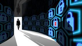 Il pirata informatico dell'elite entra nel corridoio di sicurezza dell'informazione con le serrature Fotografia Stock Libera da Diritti