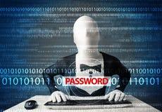 Il pirata informatico dentro morph la maschera 3d che ruba la parola d'ordine Immagini Stock Libere da Diritti