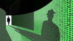 Il pirata informatico entra nel corridoio di dati Fotografie Stock Libere da Diritti