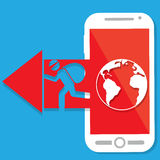 Il pirata informatico rosso della freccia precisa dello smartphone Fotografie Stock Libere da Diritti