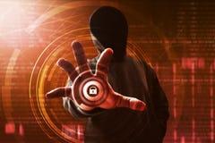 Il pirata informatico sblocca i dati immagine stock