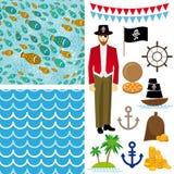 Il pirata sveglio obietta la raccolta Fondo senza cuciture Immagini Stock Libere da Diritti