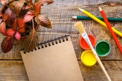 Il pittore del posto di lavoro con la pittura di gouache e l'acquerello disegnano a matita la vista superiore Immagini Stock