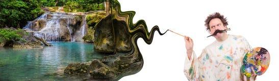 Il pittore dipinge il bello paesaggio idilliaco fotografia stock libera da diritti