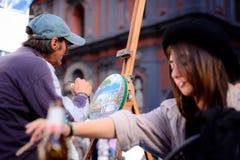 Il pittore - Napoli Italia, settembre 2017 Fotografie Stock Libere da Diritti