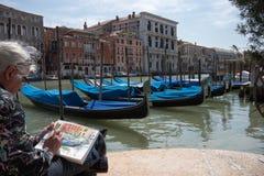 Il pittore a Venezia Fotografia Stock